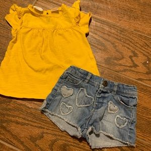 Zara baby girl shirt & denim heart shorts sz 9-12m